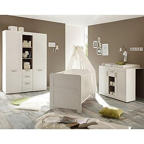 trendteam BZL60557 Babyzimmer Komplett Set Landhausstil weiss Pinie Struktur