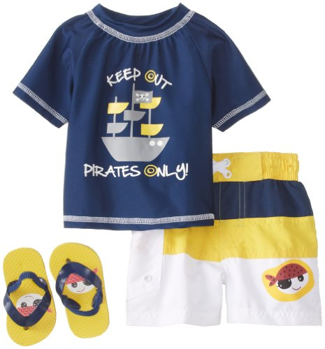 Wippette Baby-Boys Infant Pirate 3 Piece Swim Set, Navy, 12 Months front-213636