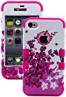 myLife Rose Pink - Spring Blossoms and Bees Series (3 Piece Protective) Hard and Soft Case for the iPhone 4/4S (4G) 4th Generation Touch Phone (Fitted Front and Back Solid Cover Case + Internal Silicone Gel Rubberized Tough Armor Skin)