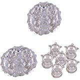 GS MUSEUM Silver Plated Rani Kumkum Plate 2 Sets And Silver Plated Set Of 6 Standing Star Deepak