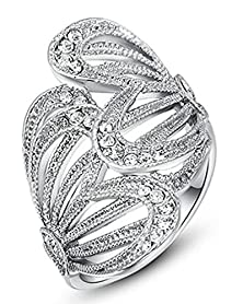 buy Beydodo Aolly Gold Plated Women'S Promise Rings Hollow Butterfly Wings Shaped Cz Size 7 White Gold