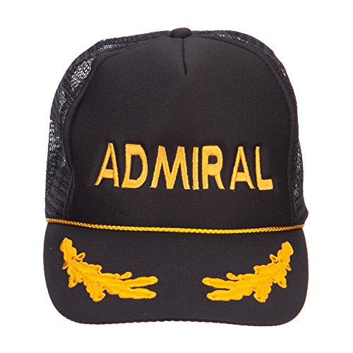 Military Word Embroidered Oak Leaves Cap - Admiral OSFM (Admiral Cap compare prices)