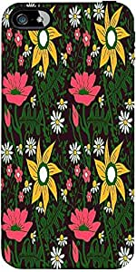 Snoogg seamless texture with flowers and butterflies endless floral pattern Hard Back Case Cover Shield ForForApple Iphone 5C / Iphone 5c