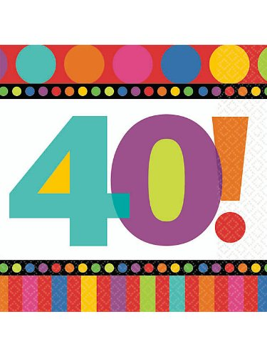 40th Birthday Dots and Stripes Beverage Napkins 16 count Birthday Party Supply