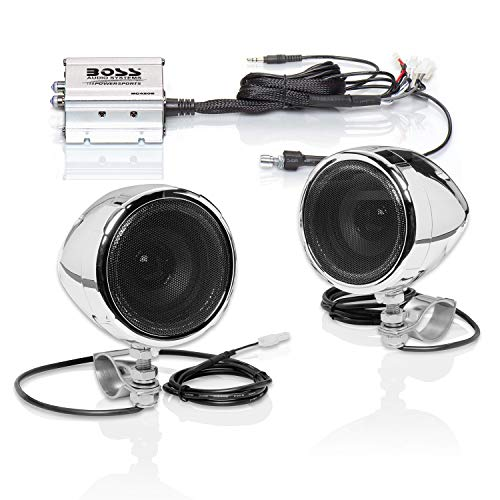 BOSS Audio Systems MC420B Motorcycle Speaker System – Class D Compact Amplifier, 3 Inch Weatherproof Speakers, Volume Control, Great for ATVs, Motorcycles and All 12 Volt Vehicles
