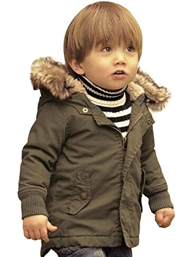 Toddler Baby Boy Winter Warm Jacket Gown Kids Hoodie Outwears Coat (110/2-3Years)