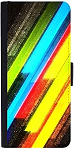 Snoogg Colourful Lightning Graphic Snap On Hard Back Leather + Pc Flip Cover ...