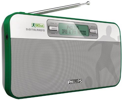 Philips AE9011/02 Tragbares 90elf-Fußball Digitalradio mit DAB+/Digitalradio, 20 voreingestellte Sender (weiß/grau/grün)