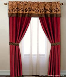 5-Piece Window Panel Set - The set includes 2 Panel, 2 Tie Back and 1 Valance, Burgundy