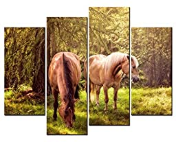 Canval prit painting Animal Wall Art two Grey Horses Eating in Forest in Sunshine 4 Panel Picture on Canvas