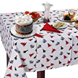 Homescapes - Christmas - Tablecloth - Vector Print - X Mas Trees design - 54 x 90 Inch - 100% cotton - White Green and Red Colour - Washable at Home
