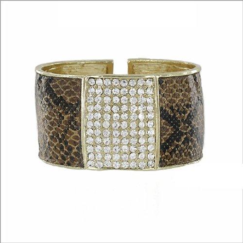 JOA Snake Skin Design W Stone Hinged Bracelet #041385