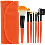 KOLIGHT 7pcs Fashion Mini Travel Cosmetic Makeup Make Up Brushes Set With Pouch Bag Case (Orange)