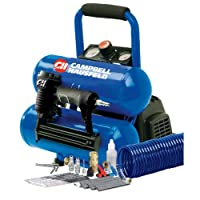 Campbell Hausfeld FP209599AV 2-Gallon Mini Twin-Stack Air Compressor with 1 1/4-Inch 2-in-1 Brad Nailer / Stapler Kit by Campbell Hausfeld