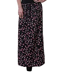 Purys Women's A-line Skirt (RE5009_Black pink blue_XL)