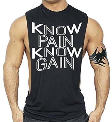Men's Know Pain Know Gain Workout T-Shirt Bodybuilding Tank Top Black