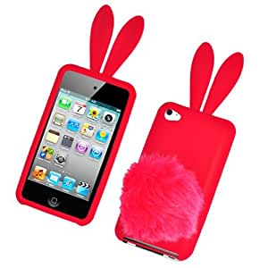 Bunny Skin Case With Furry Tail for Apple iPod Touch 4th Generation, Red