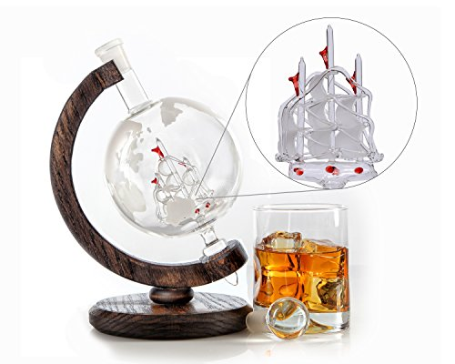 Etched Globe Whiskey Decanter - 1000ml Lead-Free Glass Bourbon Decanter for Scotch, Rum, Wine or Liquor 34oz from Prestige Decanters (Magellan's Victoria) (Gentleman Jack Whisky compare prices)