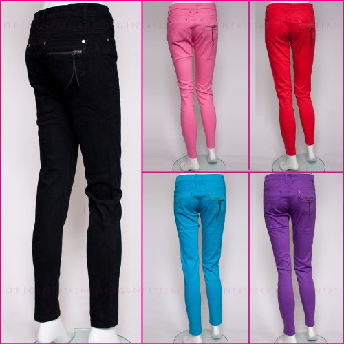 Origin Fashion Womens Skinny Cigarette Trousers Style Jeans Chinos Jeggings Black Red Purple Pink Blue UK Size 8 10 12 14 16