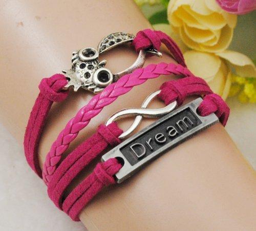 Owl Dream Infinity Antique Silver Korea Velvet Friendship Pu Leather Cute Charm Bracelet B812
