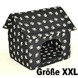 """Hundeh�hle Hundehaus Gr. XXL - 74 x 73 cm - Schwarz mit beigen Pf�tchen - einfacher Aufbau per Rei�verschlu�von """"Nanook-shop"""""""