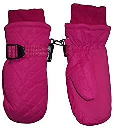 N\'Ice Caps Kids Thinsulate and Waterproof Quilted Ski Mittens (2-3yrs, Fuchsia)