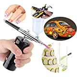 ?Update Version?Ergonomic Airbrush Kit|Steel Portable Rechargeable Handheld Mini Air Compressor Airbrush Set for Makeup Toys Model Tattoo Nail Art Face Paint Cake Decor with 9/20/40CC Cup (Color: BLAKC)