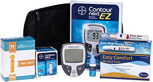 Contour Next Diabetes Testing Kit – Contour Next Ez Meter, 50 Bayer Contour Next Test Strips, 100 30g Lancets, 1 Lancing Device, 100 Alcohol Prep Pads and Control Solution