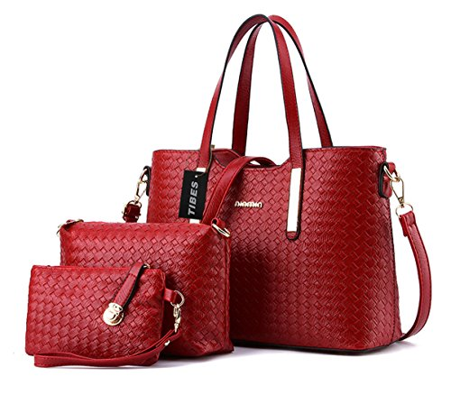 Tibes-Art-und-Weise-PU-Leder-Handtasche-Schultertasche-Geldbeutel-3pcs-Beutel-Weinrot