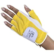Lady Classic Half Glove Left Hand White And Yellow Large By Lady Classic