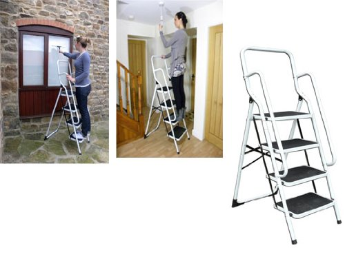 4 Step Ladder with Safety Rail (916) Stable, safe ladders with Rails.
