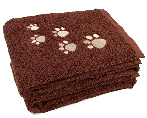 2-Pack Pet Bath Towel 100% Cotton Paw Print Embroidered Dog and Cat, Chocolate Brown