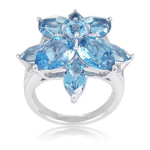 Sterling Silver Swiss Blue Topaz and London Blue Topaz Flower Ring, Size 7