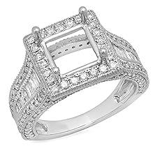 buy 1.85 Carat (Ctw) 18K White Gold Round Diamond Semi Mount Round & Baguette Cut Diamond Princess Cut Stone Engagement Ring (No Center Stone) (Size 6.5)