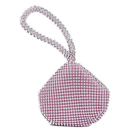 TOOGOO(R) Petit Doux Corps Perle bracelet Poche Forme Portable Soiree Sac porte-monnaie sac -Rose