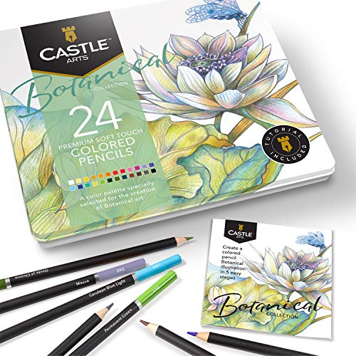 Castle Arts Themed 24 Colored Pencil Set in Tin Box, perfect colors for â??Botanicalâ?? Art. Featuring, smooth colored cores, superior blending & layering performance for great results
