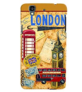 Omnam London Stickers Collage Desinged Back Cover Case For Micromax Yureka
