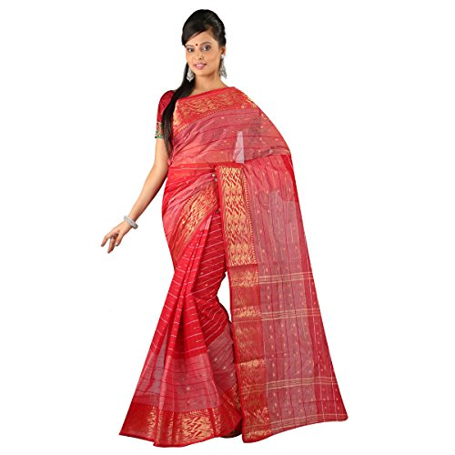 Hawai Women's Cotton Saree (WHS00334_Red)