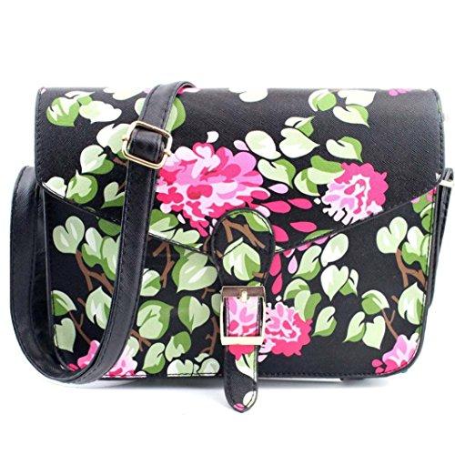 Koly_Le donne della stampa di modo di spalla della borsa Grande borsa Tote (Nero)