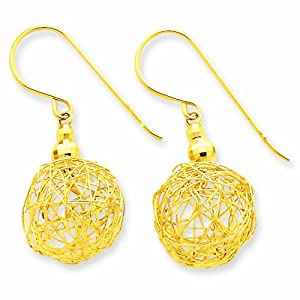 14K Mirror Bead and Wire Ball Earrings