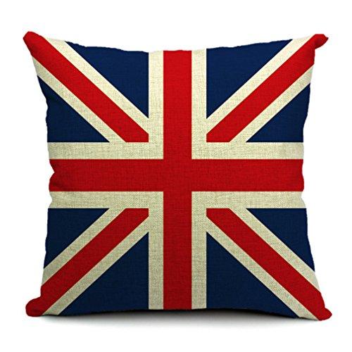 (ラボーグ)La vogue ナチュラル質感 綿麻製クッションカバー 枕カバー 45*45cm ピローケース おしゃれな国旗プリント 引越し祝い イギリス