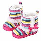 GenialES Patucos Botas de Nieve para Beb� Primeros Pasos Suave Caliente para Invierno Prewalker A Rayas 11cm