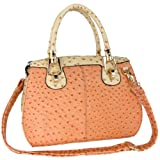 MG Collection MARISSA Pink Ostrich Top Double Handle Doctor Style Handbag