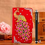 Locaa(TM) HTC Desire 510 HTC510 3D Bling Peacock Case + Phone stylus + Anti-dust ear plug Deluxe Luxury Crystal Pearl Diamond Rhinestone eye-catching Beautiful Leather Retro Support bumper Cover Card Holder Wallet Cases [Peacock Series] Blue case - Pink