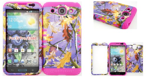 Lg Optimus G Pro E980 Purple Camo Mossy Leaf Branch Hard Plastic Snap On + Pink Silicone Kickstand Cover Case front-960708