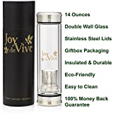 Tea Tumbler with Infuser by JOY DE VIVE - Premium Loose Leaf Tea Maker and On-The-Go Travel Mug - SAVOR LIFE with our Insulated Glass Bottle with Stainless Steel Lids and Strainer - 14 oz