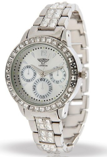 Branded Fashion Unique Wrist Watch Best Christmas Birthday Gift Ideal Ladies Watches at Discounted Sale Price - NY London Silver Watch with Crystals