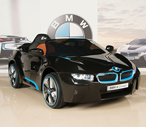 bmw i8 12v kids ride on battery powered wheels car rc remote black little kid cars