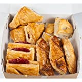 Dozen assorted pastries. Docena pasteles varios.