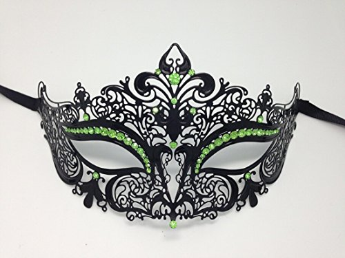 Black Metal Filigree Venetian Masquerade Girls Mask Green Rhinestones